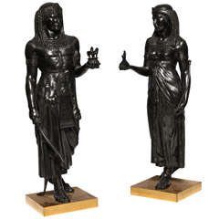 A Pair Of Antique French Patinated Bronze Neoclassical Figures By E. Picault