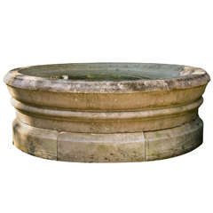 Fountain Bowl in Carved Limestone