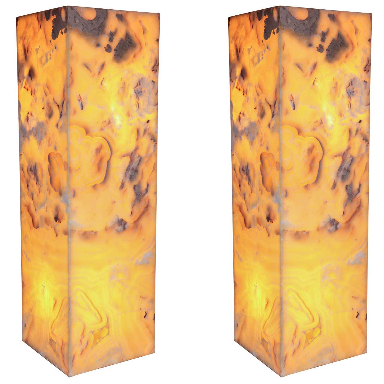 Pair of Onyx Pedestal Lamps
