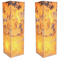 Pair of Onyx Pedestal Lamps