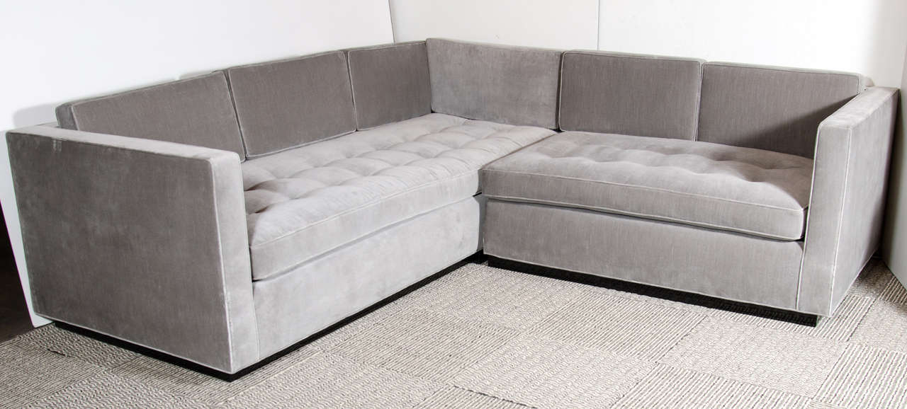 Luxe Modernist Sectional Sofa With Biscuit Tufting And Formed Back Cushions  All Upholstered In A Grey