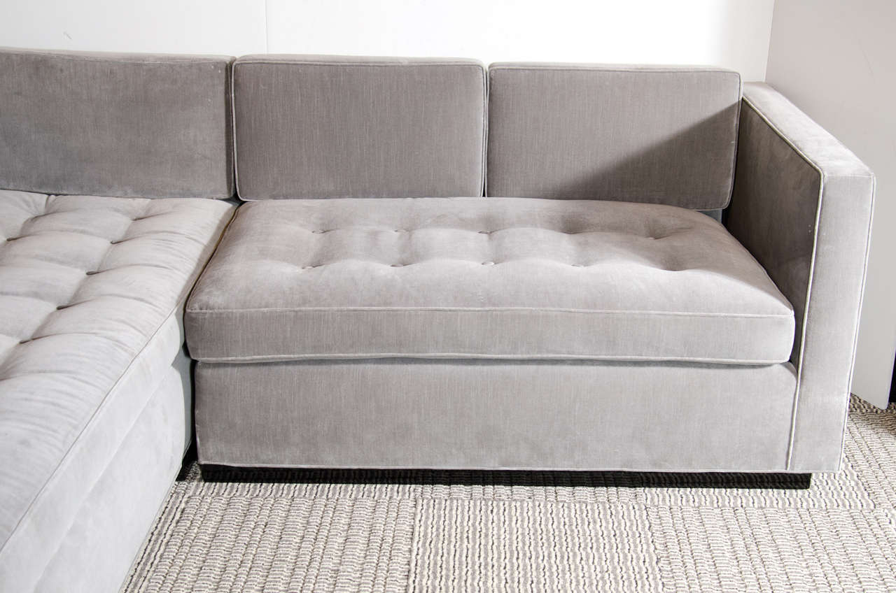 Luxe Modernist Sectional Sofa with Biscuit Tufting in Grey Velvet 3 : sectional sof - Sectionals, Sofas & Couches