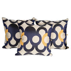 Set of Three Modernist Decorative Pillows with Geometric Designs