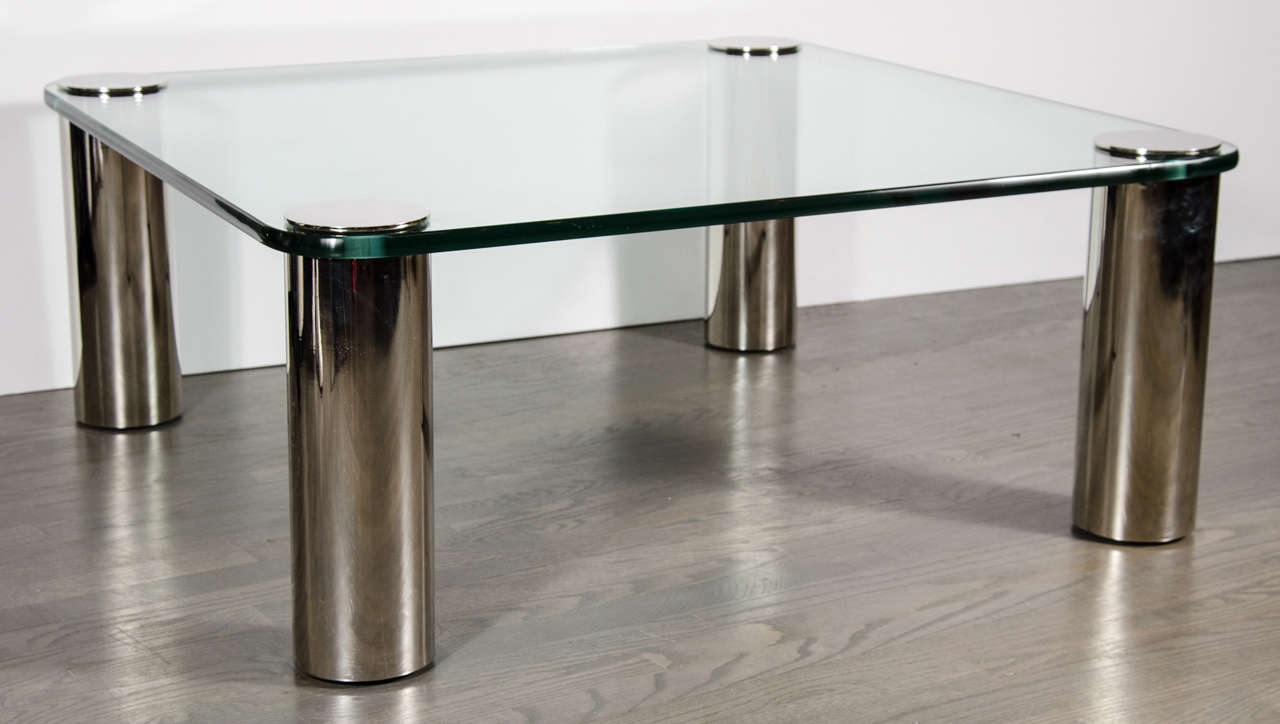 Mid Century Modernist Cocktail Table With Cylindrical Brushed Nickel Legs For Sale At 1stdibs