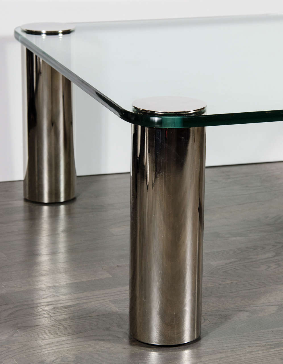 Furniture Legs Brushed Nickel mid-century modernist cocktail table with cylindrical brushed