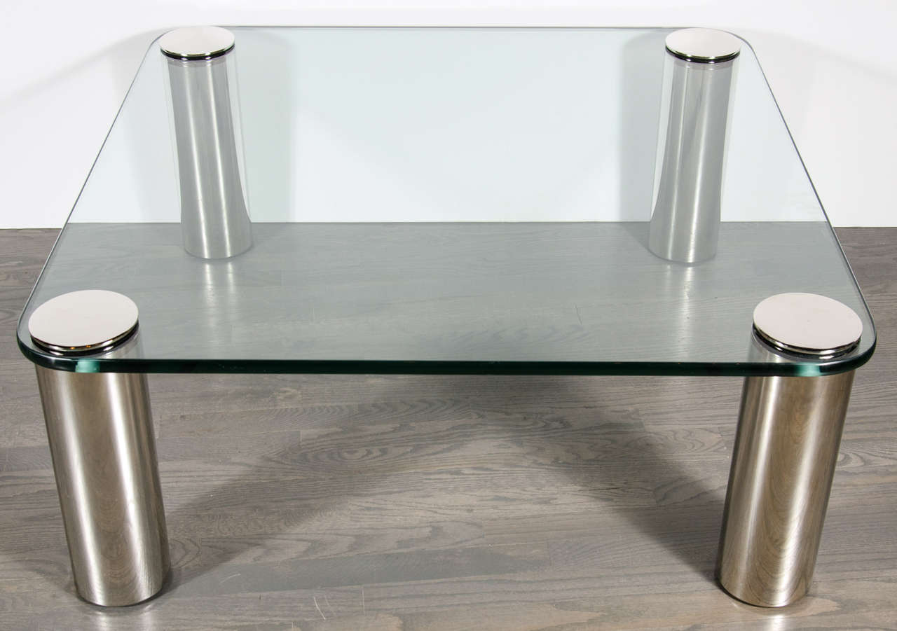Brushed Nickel Coffee Table Mid Century Modernist Cocktail Table With Cylindrical
