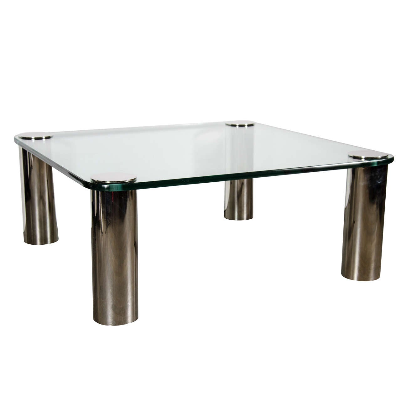 Mid Century Modernist Cocktail Table With Cylindrical Brushed Nickel Legs At 1stdibs
