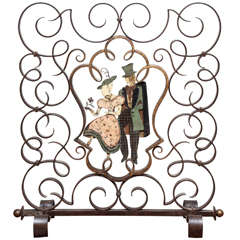 Unusual French Art Deco Figural Fire Screen