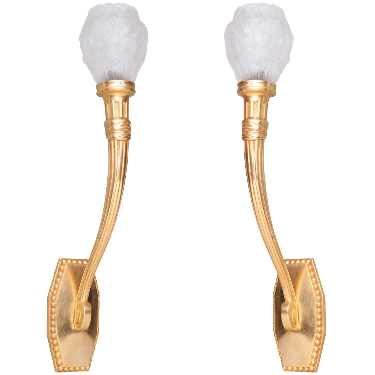 Pair Of French Art Deco Wall Sconces By Dufresne At 1stdibs