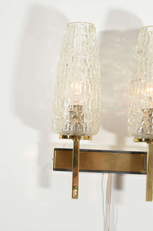 French Two Arm Cut Glass & Brass Wall Sconces For Sale 1