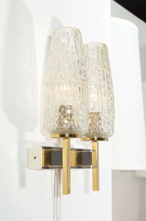 Mid-20th Century French Two Arm Cut Glass & Brass Wall Sconces For Sale