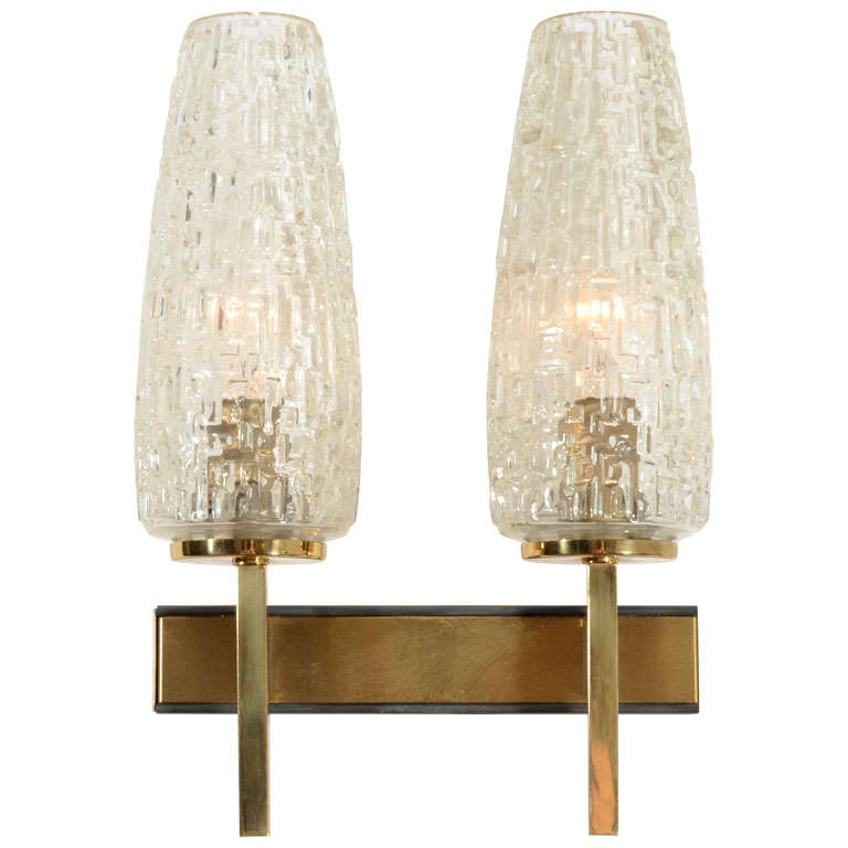 French Two Arm Cut Glass & Brass Wall Sconces For Sale