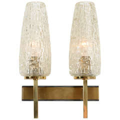 French Two Arm Cut Glass & Brass Wall Sconces