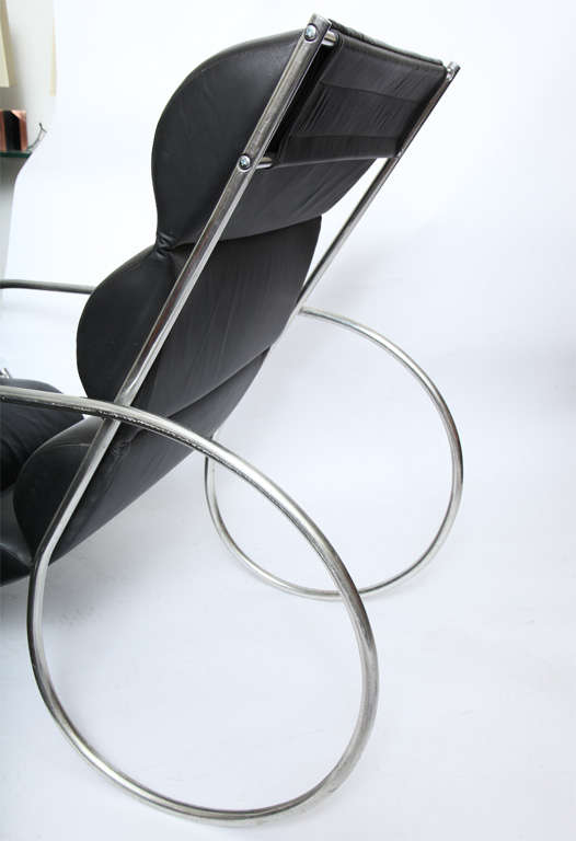 Aluminum American Modernist Lounge Chair and Ottoman For Sale