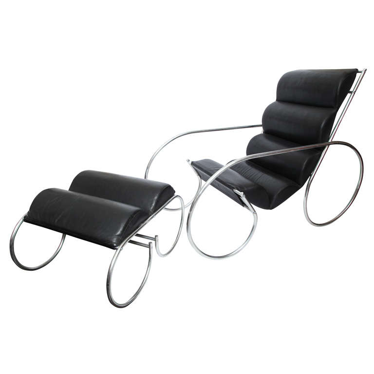 American Modernist Lounge Chair and Ottoman For Sale