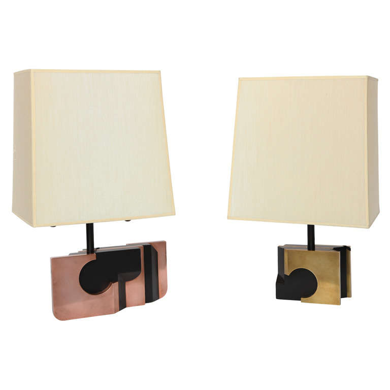 Pair of 1970s Modernist Sculptural Table Lamps