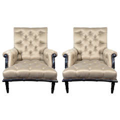 Pair of Exquisite Bamboo Tufted Club Chairs