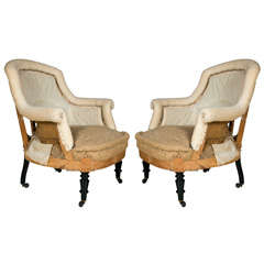 Wonderful Pair of French Wide Seated Chairs