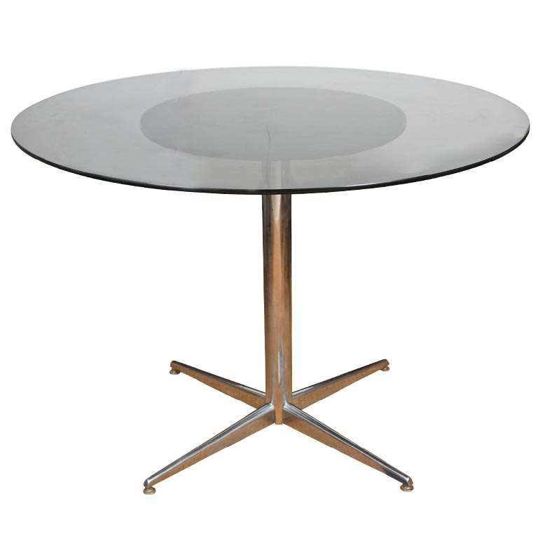 Round Chrome Table With Smoked Glass Top At 1stdibs