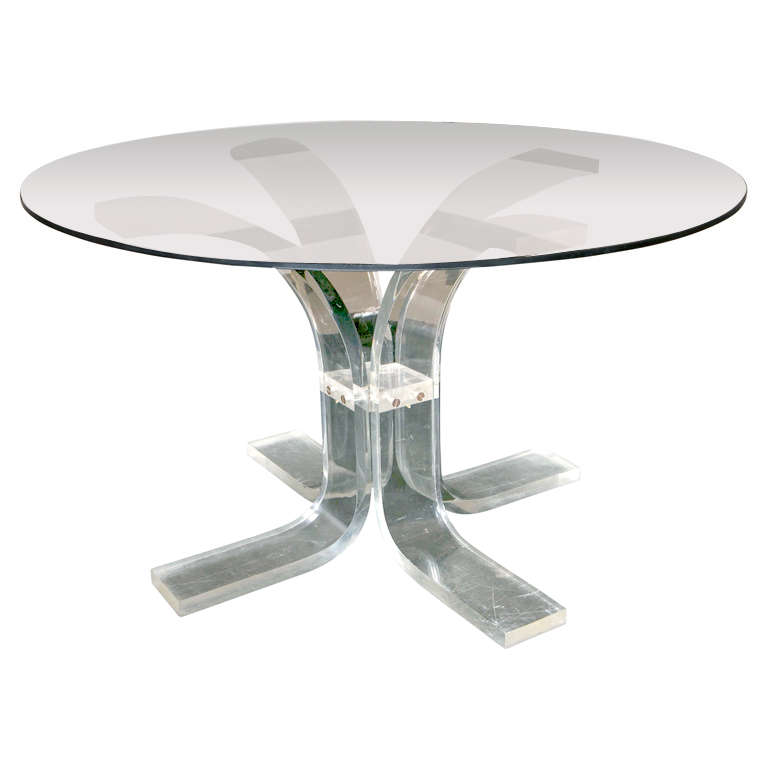Lucite Tulip Base DiningCenter Table at 1stdibs