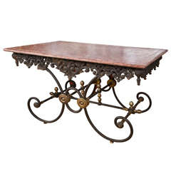 Ornate French Iron & Marble Baker's Table