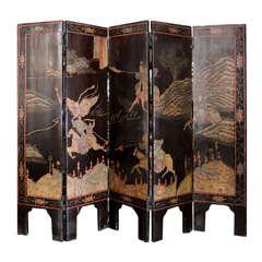 Antique Oriental Five Panel Miniature Coromandel Screen