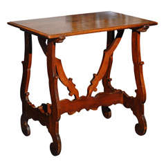 Italian Late 18th Century Walnut Side Table with Lyre Legs and Carved Stretcher