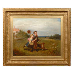 1870 English Signed Oil Painting of Two Children and a Dog Chasing a Butterfly