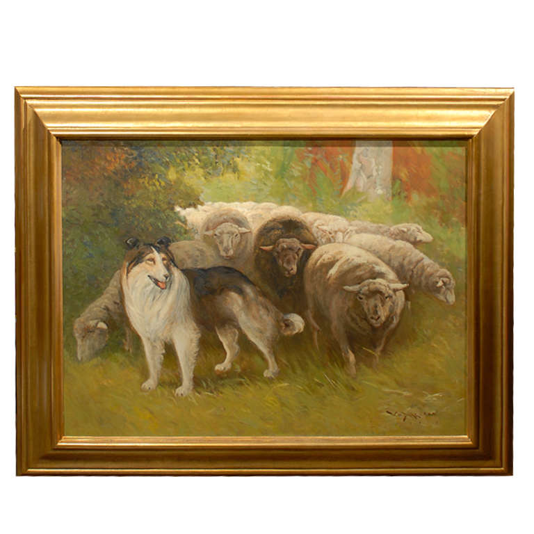 William Henry Drake 1917 Oil on Canvas Painting of Sheep and Dog in Landscape