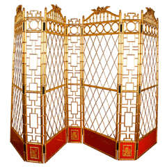 Giltwood and Lacquer Screen