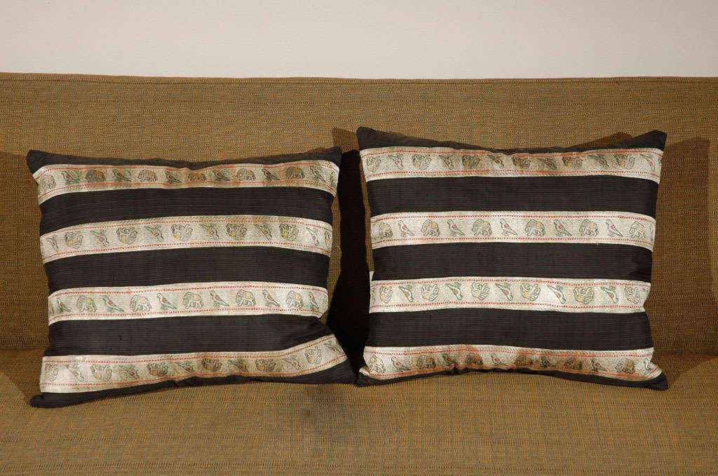 Pillow with Uzbeki woven embroidered trim, birds and elephants, on Japanese woven silk with hidden zipper.  Only 1 available.