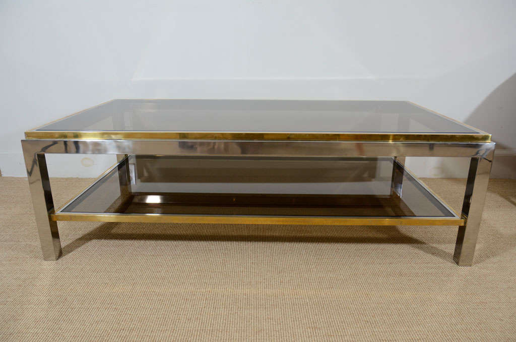 Willy Rizzo Chrome, Brass And Smoked Glass Coffee Table 2