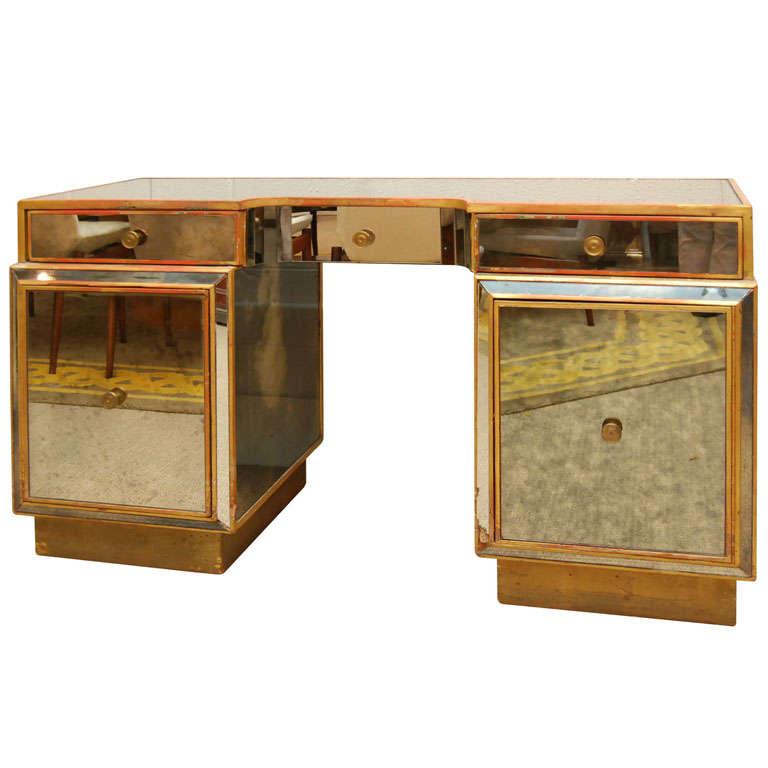 A Beautiful Mirrored Vanity Desk At 1stdibs