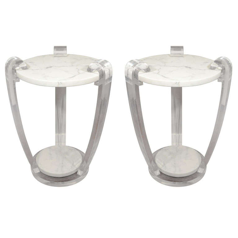 Pair of Lucite and Hoaned Marble Side Tables