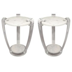 Pair of Custom Lucite and Marble Side Tables