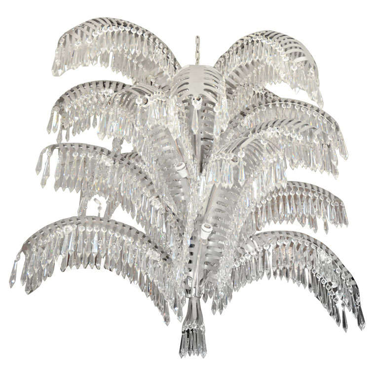 Stainless steel and cut crystal palm tree chandelier at 1stdibs stainless steel and cut crystal palm tree chandelier for sale aloadofball Choice Image