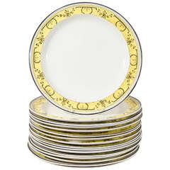 Antique Creamware Dishes Neoclassical Yellow Border