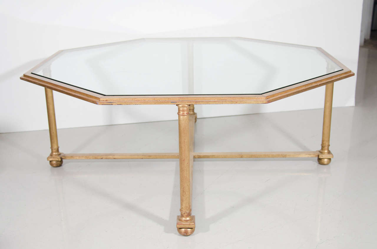 Octagonal gilt coffee table with glass top for sale at 1stdibs for Octagon glass top coffee table