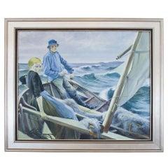 """Scandinavian Seascape,"" Painting"