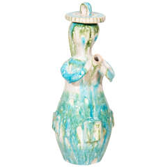Gambone Blue, White and Green Maiden Form Pitcher with Hat Lid