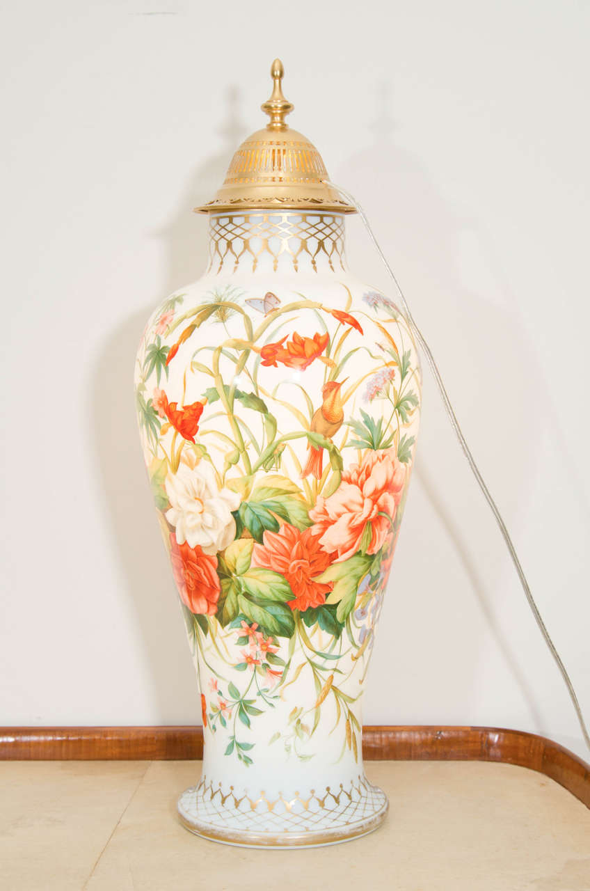 French Baccarat Opaline Glass Enameled Vase With Floral