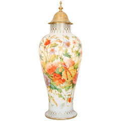 French Baccarat Opaline Glass Enameled Vase with Floral Pattern, circa 1845
