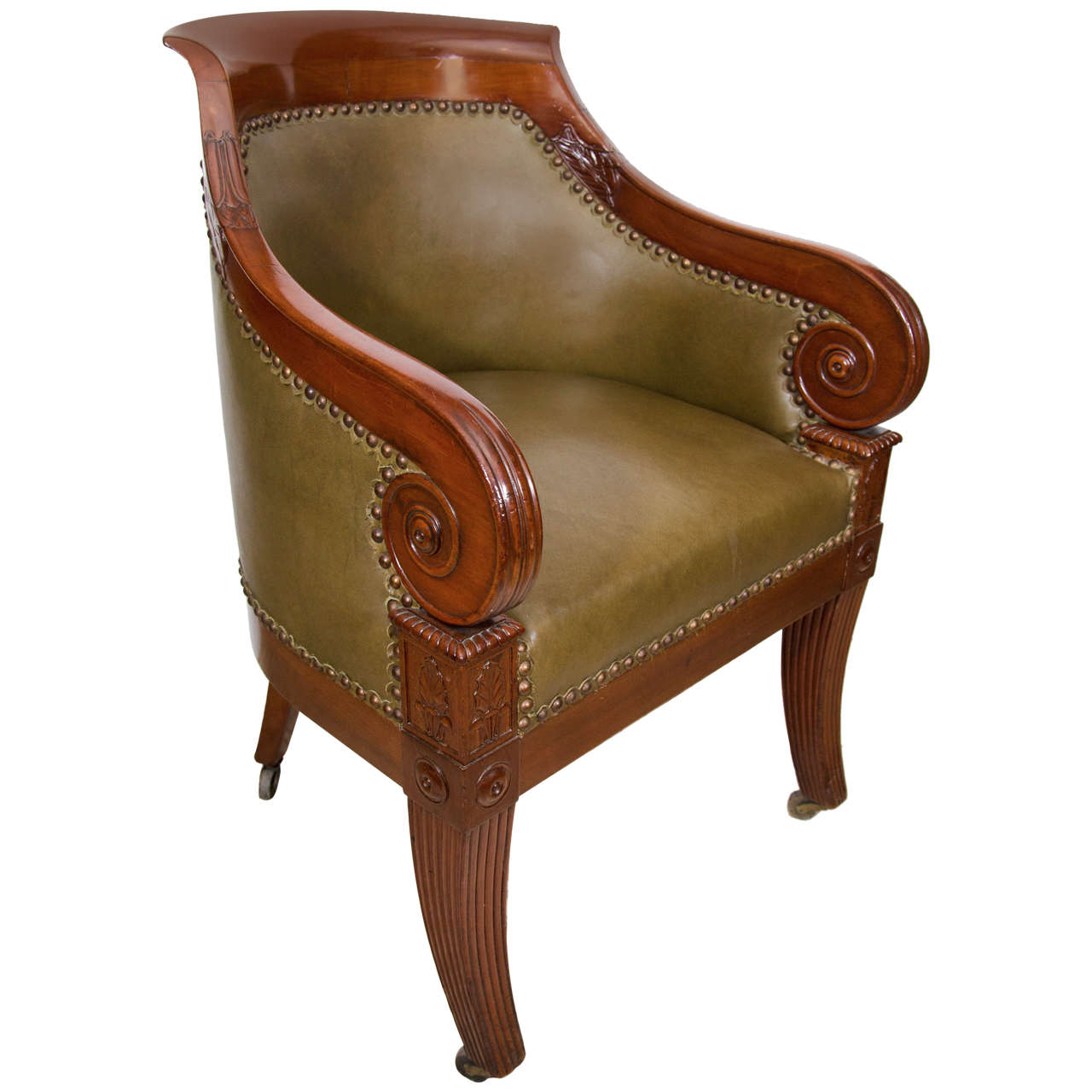 Regency Carved Mahogany Tub Chair 1 - Regency Carved Mahogany Tub Chair For Sale At 1stdibs