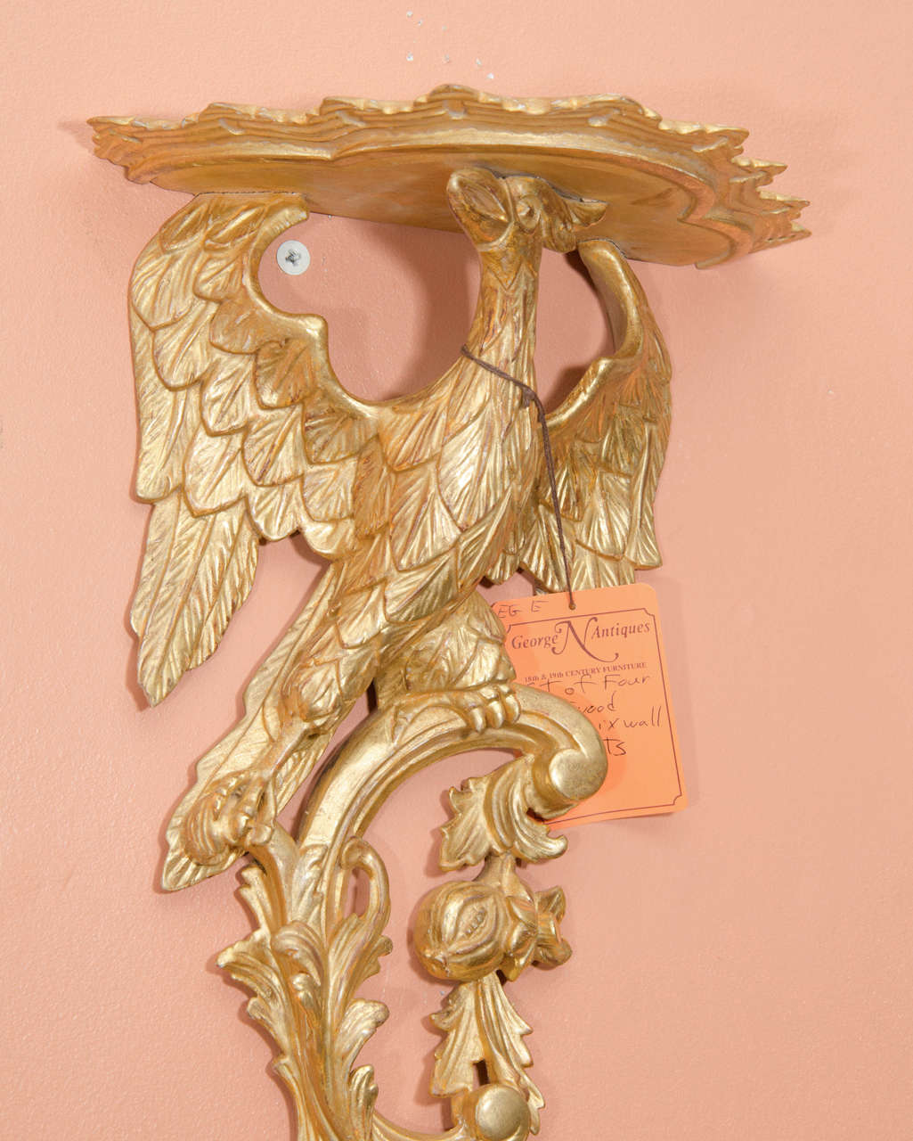 English Pair of Rococo Giltwood Phoenix Brackets For Sale