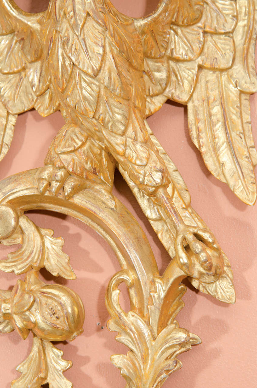 Wood Pair of Rococo Giltwood Phoenix Brackets For Sale