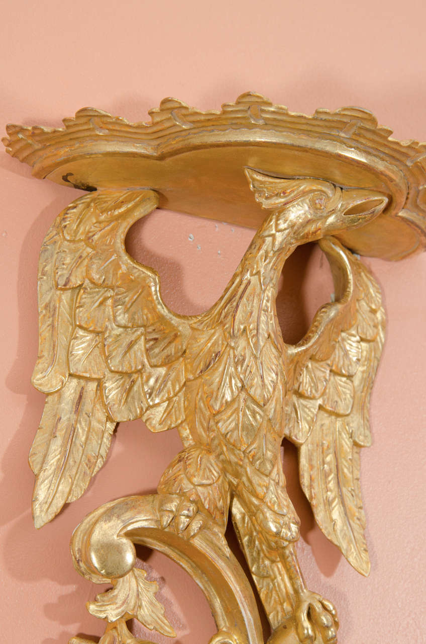 Pair of Rococo Giltwood Phoenix Brackets For Sale 1
