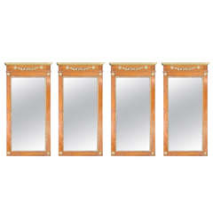 Set of Four Continental Fruitwood Mirrors