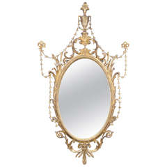 Hepplewhite Oval Giltwood Mirror with Swags