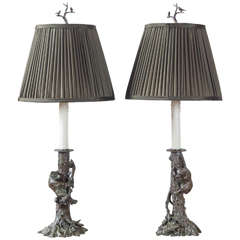 Charming Pair of Bronze Lamps