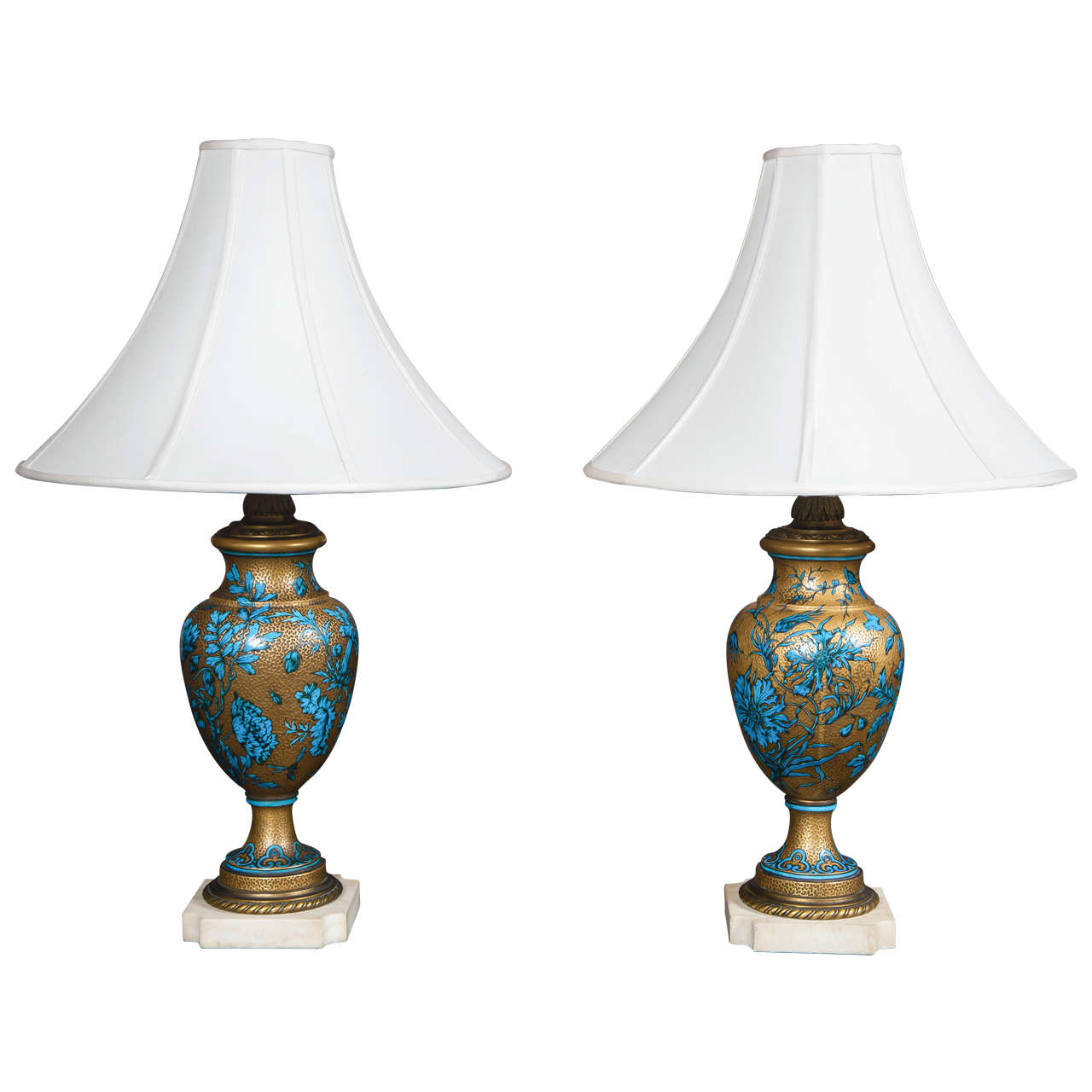 Pair Of Porcelain Bronze Mounted Urns As Lamps At 1stdibs